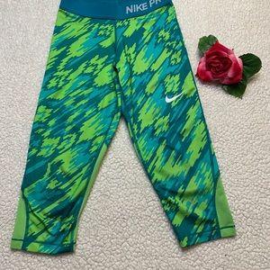Nike Pro Dri-Fit Girls Medium Green Leggings